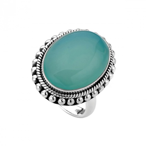NAJO STERLING SILVER AND AQUA CHALCEDONY OVAL RING