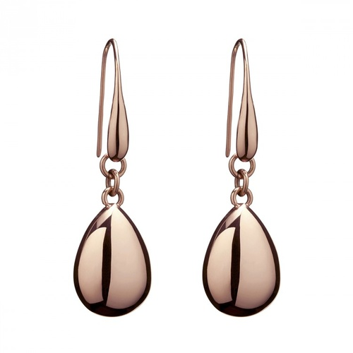 NAJO ROSE GOLD PLATED STAINLESS STEEL TEARDROP HOOK EARRINGS