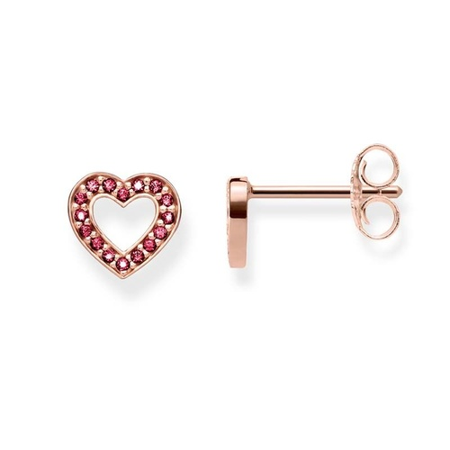 THOMAS SABO CUTOUT HEART ROSE GOLD PLATED CORUNDUM RED EARRINGS