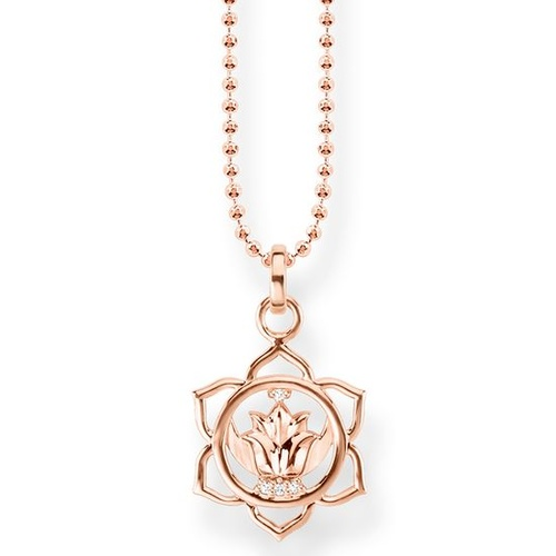 THOMAS SABO SACRAL CHAKRA CUBIC ZIRCONIA ROSE GOLD PLATED NECKLACE 40-45CM