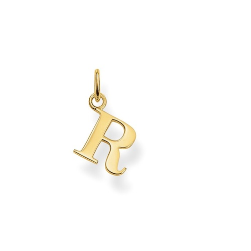 "THOMAS SABO INITIAL""R"" STERLING SILVER YELLOW GOLD PLATED"