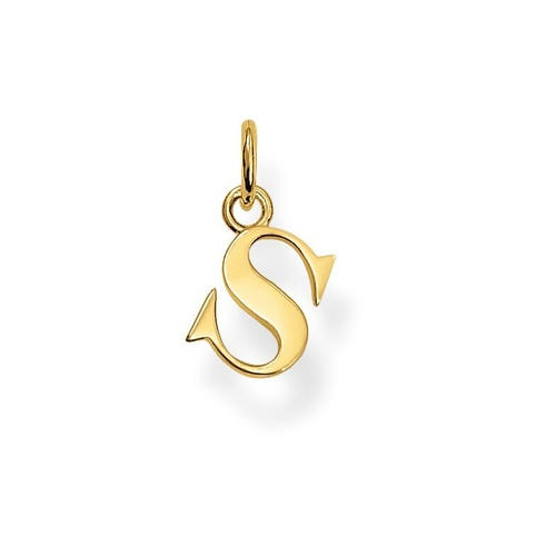 "THOMAS SABO INITIAL""S"" STERLING SILVER YELLOW GOLD PLATED"