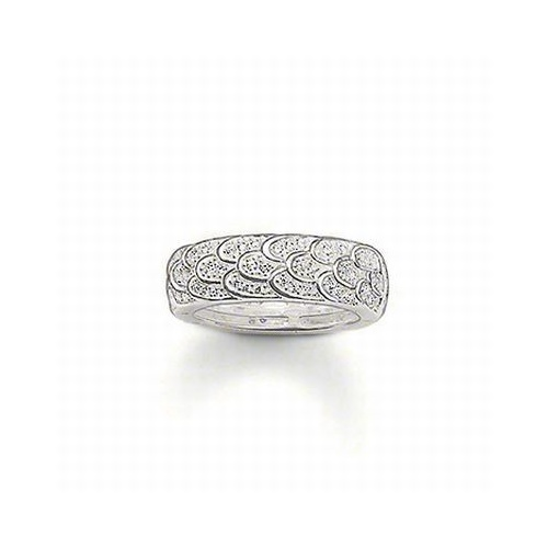 THOMAS SABO CUBIC ZIRCONIA CONTINUOUS FEATHER RING