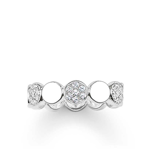 THOMAS SABO CIRCLES POLISHED PAVE CUBIC ZIRCONIA BAND RING