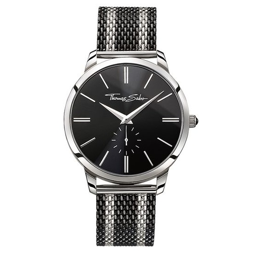 THOMAS SABO STAINLESS STEEL AND BLACK IP STRIPES WATCH