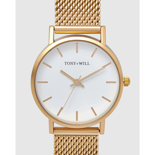 TONY AND WILL SMALL CLASSIC YELLOW GOLD MESH WATCH