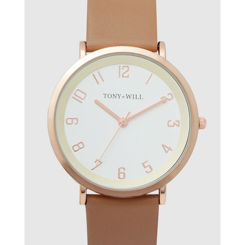 TONY & WILL ASTRAL BEIGE LEATHER, WHITE DIAL, ROSE GOLD CASE WATCH