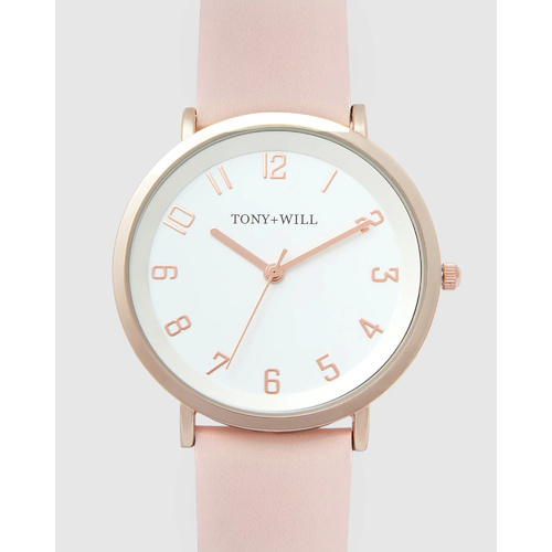 TONY & WILL ASTRAL ROSE GOLD, PINK LEATHER WATCH